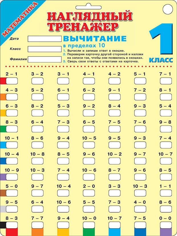 Математика. Вычитание в пределах 10. 1 класс ( .  )