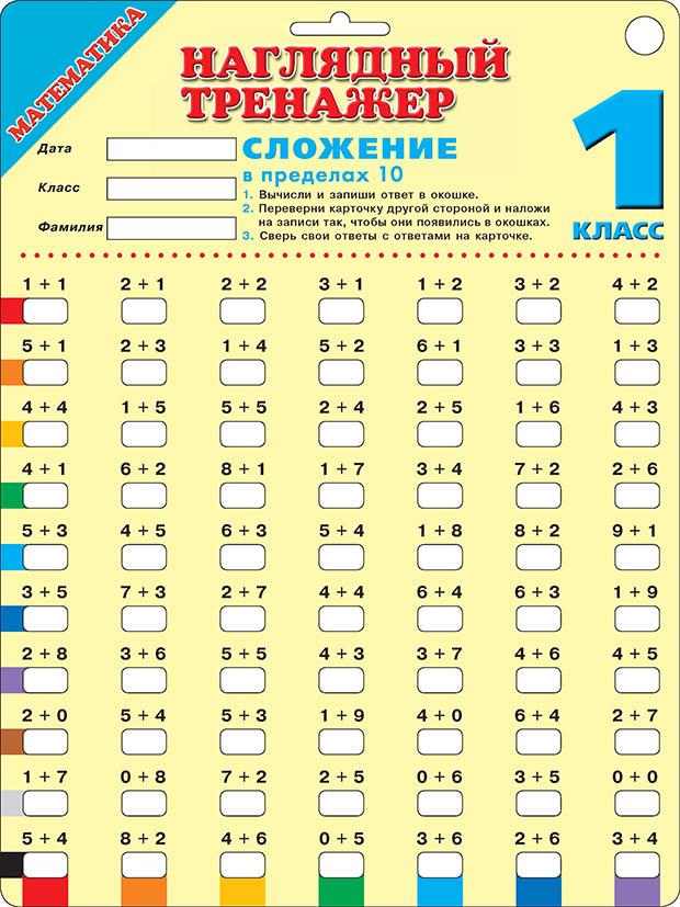 Математика. Сложение в пределах 10. 1 класс ( .  )