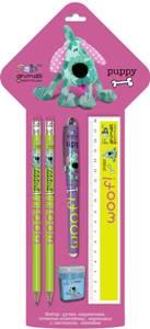 Набор: ручка шар, синяя, кар ч/г с ласт, 2 шт, точилка, линейка, 18 см.