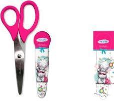 Ножницы школьные с фигурными ручками в пластиковом футляре.