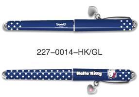 Ручка шариковая с колпачком, синяя (0.7 мм) с подвеской на клипе.