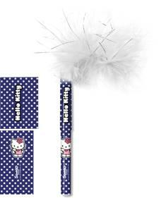 Ручка шариковая, синяя (0.7 мм) с пухом на колпачке.