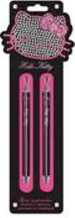 Ручки шариковые автоматические 2 шт., синяя и черная (0.7 мм), кнопка со стразой
