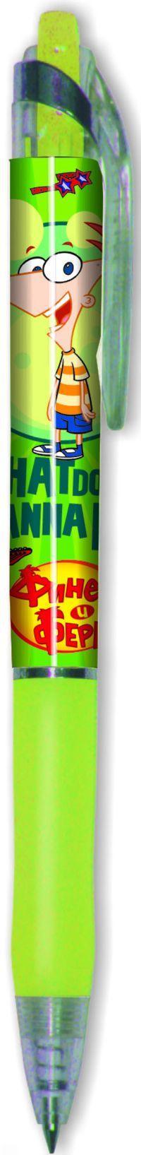 217-0001-PF/10 Ручка шариковая автоматическая синяя(0,7мм)Финес и Ферб
