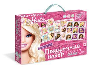 Barbie.Подарочный наб.3в1.Лото.Мемо.Домино+3мини-пазла.коробка с ручкой.00265