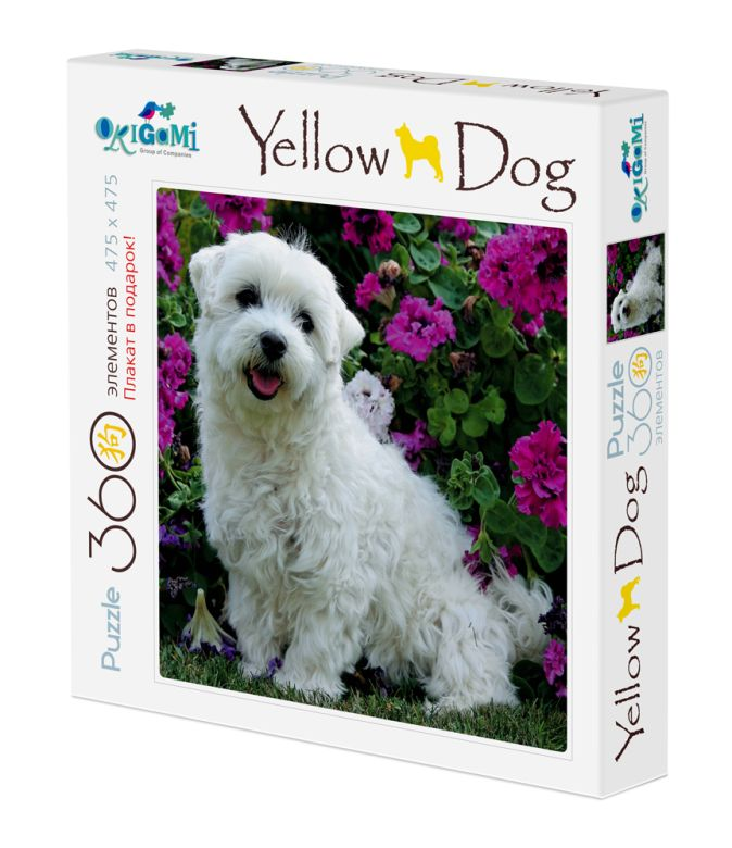 Собаки.Пазл.360Эл. +плакат.Собачка и цветы.03468