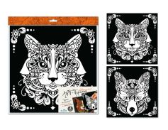 Арт-терапия. Картина-раскраска. Кот и Лиса. 30*30 см. 2 шт.: бархат, глиттер. Арт. 03162