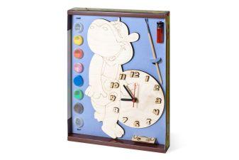 Часы с циферблатом под роспись. Бегемот