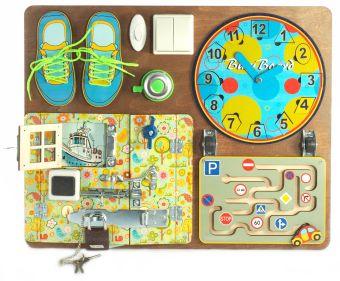 Наст.игр.:НИ.BusyBoard. Развивающая доска №1 арт.7902 для мальчиков (40х50,пазлы,шнур.,магн.часы,лабиринт) дер./8