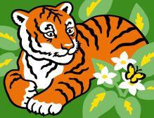 Фреска в рамке Тигр и бабочка