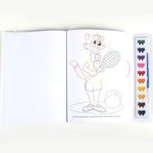 Кот Леопольд. раскраска с цветным контуром и красками. 285х295мм в кор.24шт