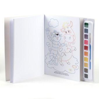 Простоквашино. раскраска с цветным контуром и красками. 285х295мм в кор.24шт