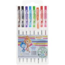 Набор ФИКСИКИ 8  цветных ручек шариковых автоматических 0,7 мм, в ПВХ упаковке с подвесом