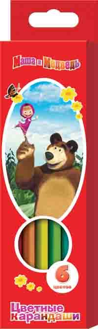 Цвет. каран. «Маша и Медведь» толс.трехгр. 6цв,к/у