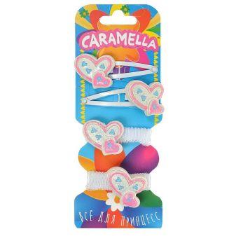 Набор аксессуаров для волос: 2 резинки, 2 заколочки с сердечком, белые/розовые