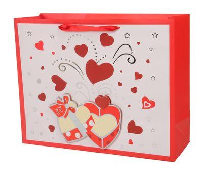 Пакет подарочный с сердечками 320*255*110