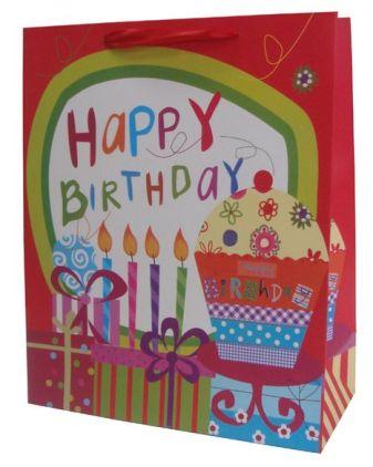 Пакет подарочный, День рождения 260*320*120