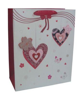 Пакет подарочный с сердечками 260*320*120