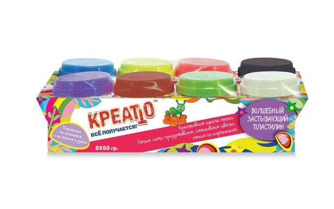 Пластилин, 8 банок (50г), упаковка рукав