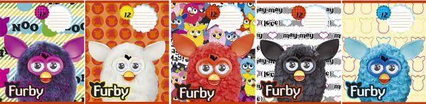Тетрадь 12л клетка Furby картонная обложка выб УФ