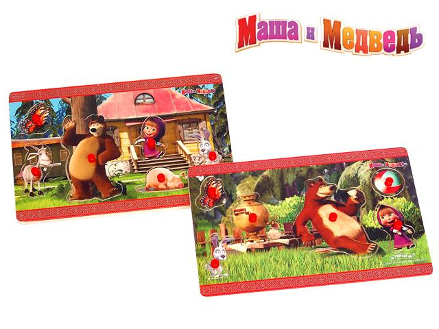 ММИ - Пазл 5073GT  Маша и Медведь 6 деталей  27*18*0,8см  дерево обложка книги