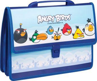Папка-портфель формат А4 на 2 отделения, Аngry birds,боковые тканевые вставки, строчка тесьма по боковым швам