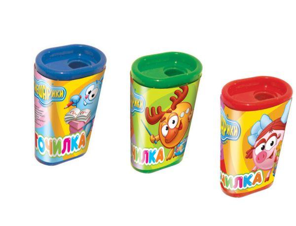 Точилка СМЕШАРИКИ с контейнером,пластиковая,цвет ассорти