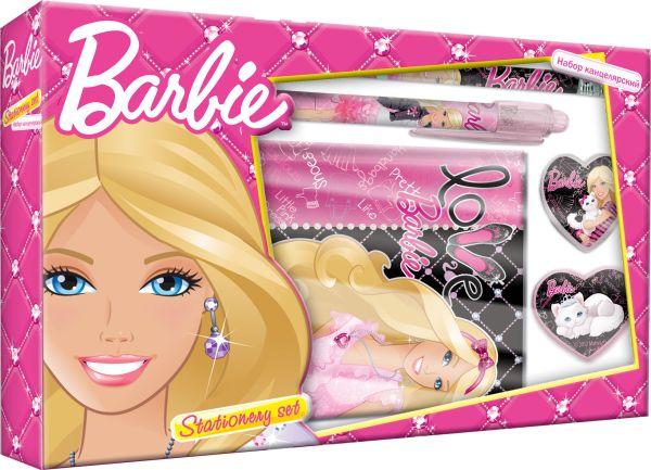Набор канцелярский Barbie в подарочной коробке с вырубкой: ноутбук, ручка