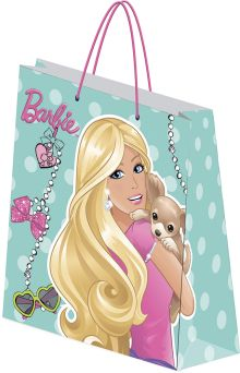 Пакет подарочный бумажный Barbie 18х21х8,5 лам