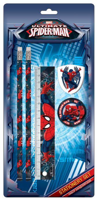 Набор канцелярский Spiderman в блистере:карандаши ч/г 2 шт,линейка,ластик,точил