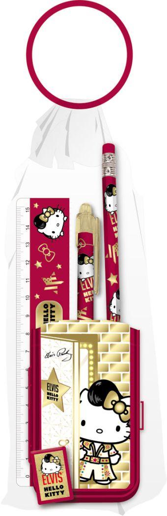 Набор канцелярский Hello Kitty в ПП пакете с кольцом: карандаш ч/г с ластиком, пенал, линей