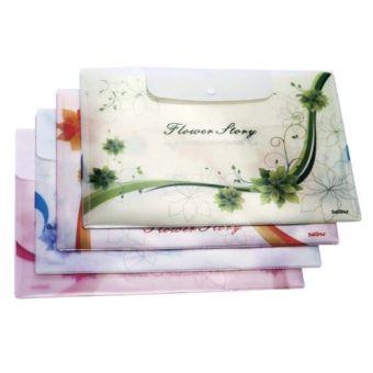 Папка-конверт А4 ЦВЕТОЧНАЯ ИСТОРИЯ,на кнопке,0,18 мм.с внешним карманом, цвета ассорти (зеленый, оранжевый, синий, розовый)