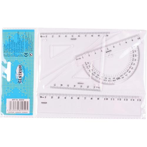 Набор линеек: линейка 15 см., транспортир, треугольник 8см 45*45*90, треугольник 11см 30*60*90 в индивидуальной упаковке с европодвесом.