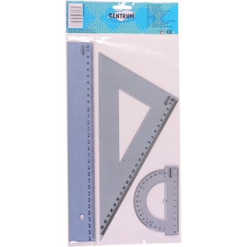 Набор линеек: линейка 30 см., транспортир, треугольник 23см 30*60*90 в индивидуальной упаковке с европодвесом.