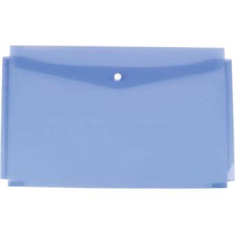 Папка - конверт на кнопке объемная пластиковая 0,18мм прозрачная цветная; ассорти 5 цветов; формат А4; вместимость 250 листов.