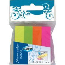 Набор индексных стикеров - разделителей бумажных с липким слоем неоновых цветных (4 цвета по 100 листов), 50*12мм в индивидуальной упаковке с европодв