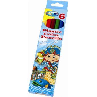 """Карандаши  6 цв длинные """"Пират"""" пластиковые длина 177 мм в картонной упаковке с подвесом заточенные"""