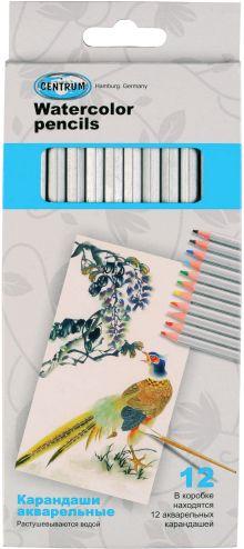 Карандаши цветные 12 цв  акварельные в картонной упаковке,серия ПАВЛИН