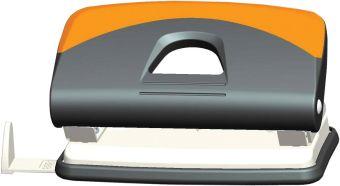 Дырокол в пластиковом серо-оранжевом корпусе на 10 листов с измерительной планкой, металлический механизм