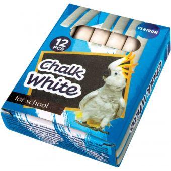 """Мелки школьные белые круглые """"ZOO"""" в картонной упаковке с европодвесом 12 штук. Длина мелка 85мм, диаметр 11мм."""