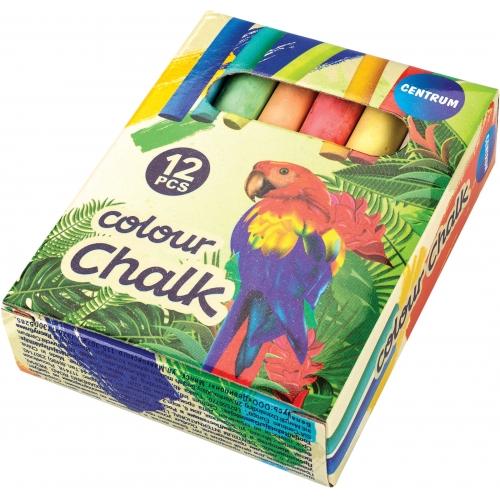 """Мелки школьные цветные круглые """"ZOO"""" в картонной упаковке с европодвесом 12 цветов. Длина мелка 85мм, диаметр 11мм."""