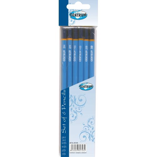 Набор 6 штук чернографитных профессиональных деревянных карандашей разной твердости (НВ, НВ, 2Н, 2В, 3Н, 3В), не заточенных; цветной корпус, с запаянн