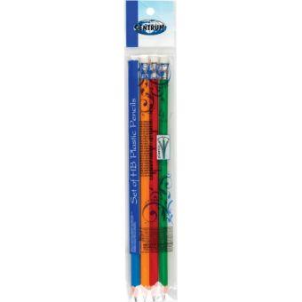 Набор 4 штуки чернографитных пластиковых карандашей НВ, заточенных; цветной корпус, без ластика в индивидуальной упаковке с европодвесом.