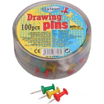 Кнопки канцелярские силовые цветные; 100 штук в пластиковой упаковке. Диаметр шляпки 10 мм, длина иглы 7мм.