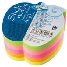 Блок для записей с липким слоем неоновый цветной (5 цветов по 80 листов) в форме яблока, 400 листов, в индивидуальной упаковке