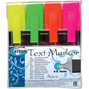 Набор 4 цвета текстовыделителей со скошенным наконечником 1-5мм  в ПВХ - упаковке.