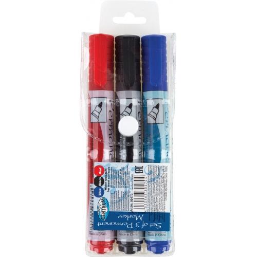 Набор 3 цвета маркеров с конусообразным наконечником 2-4мм в ПВХ - упаковке.