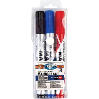 Набор 3 цвета маркеров для белой доски с конусообразным наконечником 1-5мм в ПВХ - упаковке.