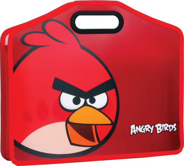 Папка д-портфель,пластик 0,55мм  Angy birds ,формат А4,размер 37*32см,красная