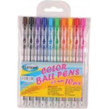 Набор 10 цветных шариковых автоматических ручек 0,7 мм (цвета коричневый, черный, сиреневый, синий, голубой, зеленый, оранжевый, желтый, красный, розо